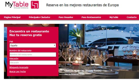 Elegir restaurante my table